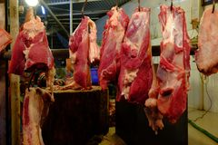 Display of meat in a supermarket. Various meat in a supermarket. meat in shop Royalty Free Stock Images