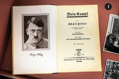 Display of Mein Kampf. The book 'Mein Kampf' by Adolf Hitler on display in the Bastogne War Museum in Belgium royalty free stock images