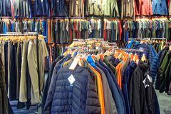A display of men`s outdoor clothing. Stock Photos