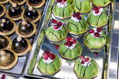 Display of mignon little pastries Royalty Free Stock Photography