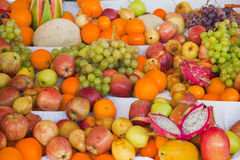 Display of mixed fresh tropical fruit Stock Images