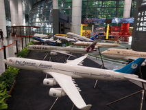 Display of modern aircraft models Royalty Free Stock Photography