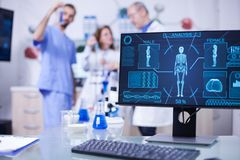 Display Monitor In A Hospital Laboratory Showing Human Skeleton Stock Photo