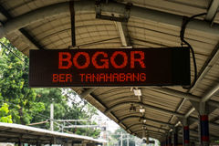 Display monitor at train station showing train to Bogor will entering station soon photo taken in Jakart Indonesia Royalty Free Stock Photo