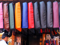 Display of motorbike seat covers at the street market in Jaipur, Royalty Free Stock Photography