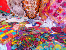 Display of nanduti at the street market in Asuncion, Paraguay. Nanduti is a traditional Paraguayan embroidered lace, introduced by the Spaniards Royalty Free Stock Image