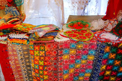 Display of nanduti at the street market in Asuncion, Paraguay. Nanduti is a traditional Paraguayan embroidered lace, introduced by the Spaniards Stock Image