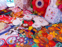 Display of nanduti at the street market in Asuncion, Paraguay. Nanduti is a traditional Paraguayan embroidered lace, introduced by the Spaniards Royalty Free Stock Photos