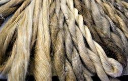 Free Display Of Natural Hand-spun Linen Skeins. Yarn. Knitting. Weaving. Natural. Stock Image - 119495331