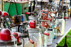 A display of  old antique butter churns Royalty Free Stock Image