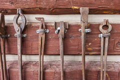 Display of old antique tools. Stock Photo