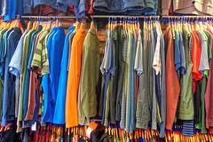 A display of outdoor clothing. Stock Photos