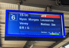 Display over a platform of the Geneva railway station. Geneva, Switzerland - 24 September, 2016: informational display over a platform of the Geneva railway Stock Images