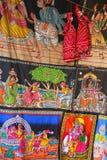 Display of paintings on a cloth at Johari Bazaar in Jaipur, Indi Royalty Free Stock Image