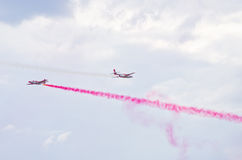 Display of polish team Bialo-czerwone Iskry on Radom Airshow, Poland Royalty Free Stock Photo