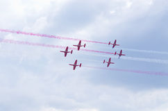Display of polish team Bialo-czerwone Iskry on Radom Airshow, Poland Royalty Free Stock Images