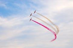 Display of polish team Bialo-czerwone Iskry on Radom Airshow, Poland Royalty Free Stock Images