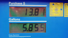 Display with the price of gasoline and the amount of fuel filled in halons. At the gas station stock video