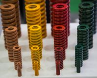 Colorful coil spring. Display product standard colorful of coil spring stock image