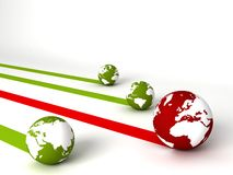 Display of profit and loss globes Royalty Free Stock Photo
