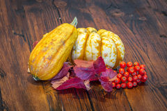 Display of pumpkins on a rustic wooden table Stock Images