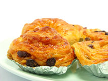 Display of raisin brioche sweet danish pastries Royalty Free Stock Photo