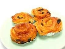 Display of raisin brioche sweet danish pastries Royalty Free Stock Photos