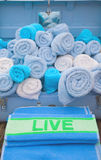 Display of Rolled Towels Stock Photos