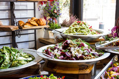 Display of salads in a restaurant Royalty Free Stock Photography