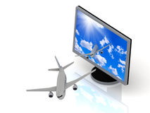 Of the display with the screen saver sky fly airplanes Stock Image