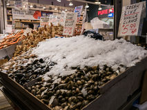 Display of seafood at Seattle Public Market Stock Images