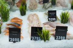 Display of seafood in a shop in Melbourne, Australia. Display of seafood with price tags in a shop in Melbourne, Australia Stock Photos