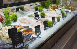 Display of seafood in a shop in Melbourne, Australia. Display of seafood with price tags in a shop in Melbourne, Australia Royalty Free Stock Images