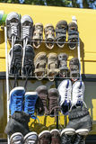 Display, second hand boy leather shoes per pairs for resale Royalty Free Stock Photography