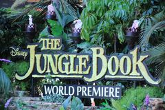 Display set up at Jungle Book premiere Stock Images