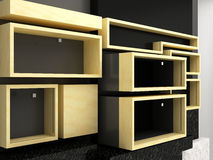 Display shelves wall. Display wall with different size shelves royalty free illustration