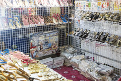 Display with shoes in Hua Hin night market, Thailand Royalty Free Stock Photography
