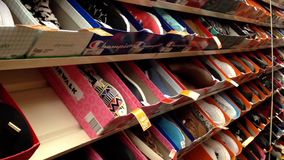 Display shoes at shoe store stock video