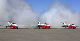Display by the Snowbirds team at the Air Show event Royalty Free Stock Images