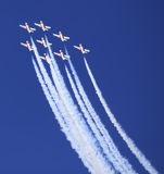 Display by the Snowbirds team at the Air Show event Stock Image
