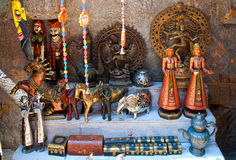 Display of souvenirs at a city street shop in Jaisalmer, Rajasthan, India. Royalty Free Stock Photo