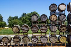 Display Of Stacked Wine Barrels Royalty Free Stock Photos