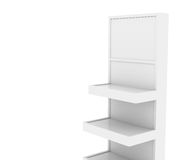 Display stand  with blank signage. Close-up view high res render Stock Image