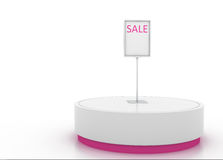 Display stand. Round display stand with sale signage Stock Photography