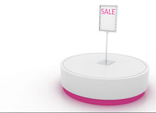 Display stand. Round display stand with sale signage Stock Photo