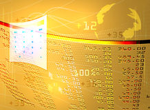 Display stock market. Illustration display stock market on a gold color background Stock Images