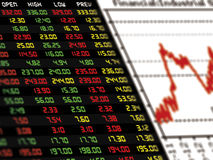A display of daily stock market price and quotation with graph. Royalty Free Stock Photography