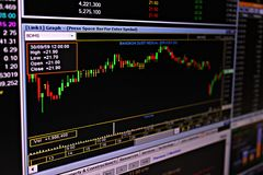 Display of stock market or stock exchange data and graph on monitor Stock Photo