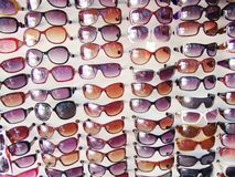Display of sun glasses Royalty Free Stock Photos