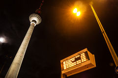 Display and television tower in berlin Royalty Free Stock Image